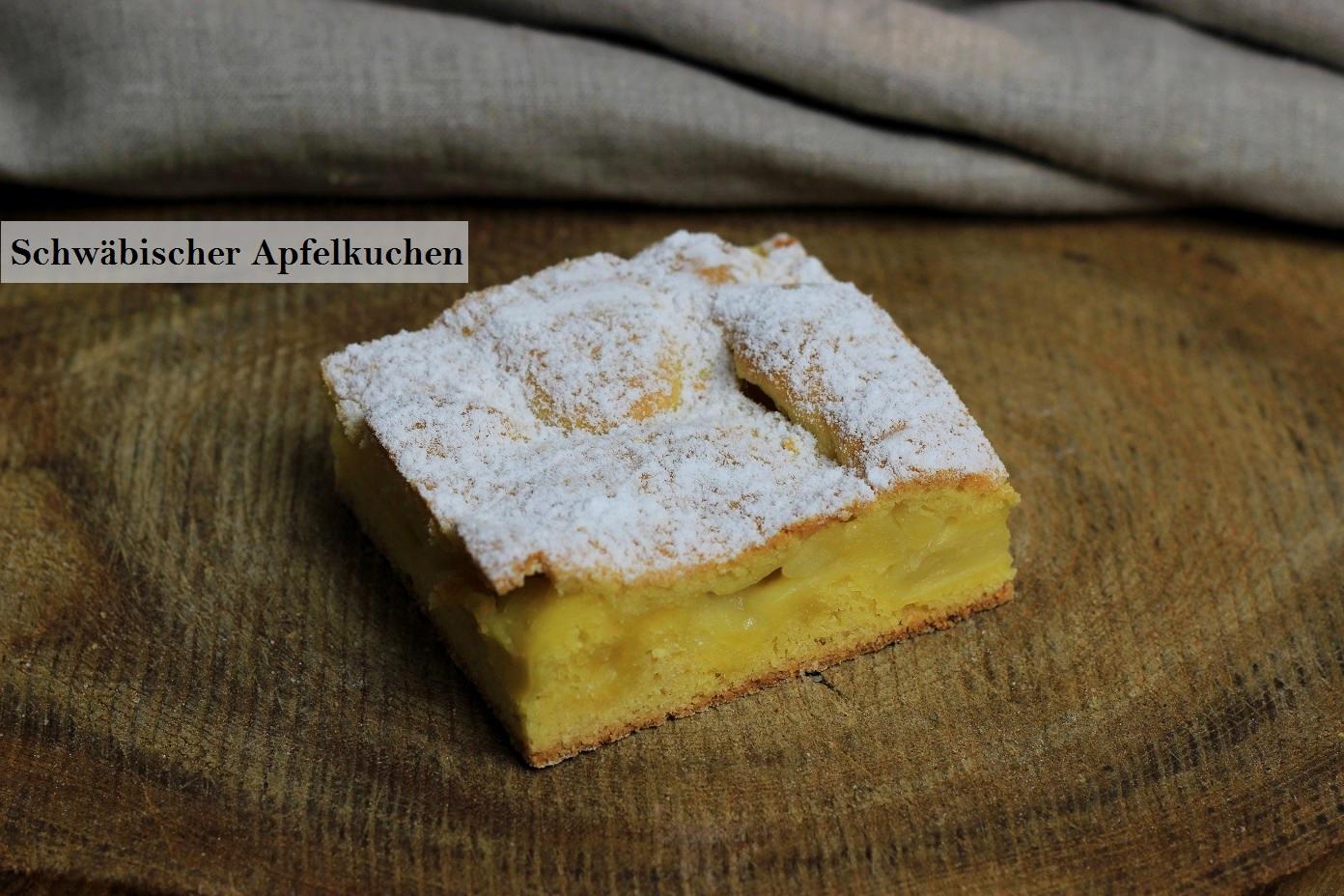 Schwäbischer Apfelkuchen beschriftet